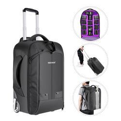 Neewer 2 in 1 kabriolet na kółkach plecak na aparat bagażu pokrowiec na wózek z podwójny pręt Anti shock odpinany wyściełana kieszeń|Torby na aparaty/kamery|Elektronika użytkowa -