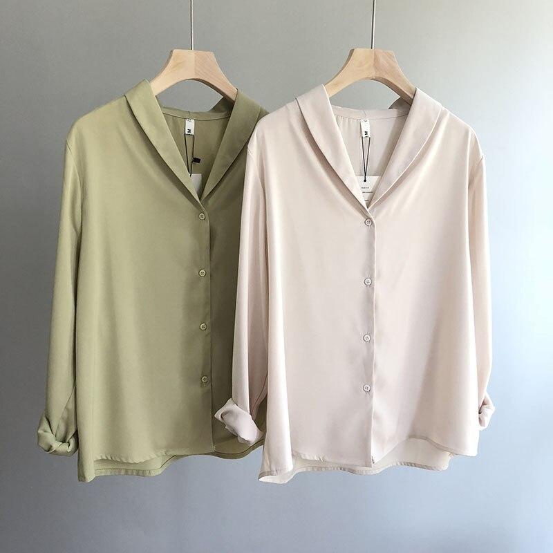 Mooirue Summer 2019 Women Korean Blouse Korean V Long Chiffon Long Turn-down Collar Loose Blusas Lady Boho Tops