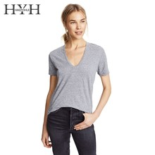 HYH HAOYIHUI  Women New Summer T-shirt Pure Color Jacket Sexy Deep V-neck Short Sleeve
