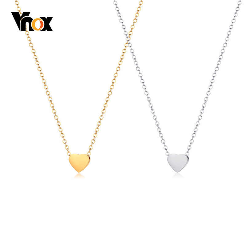 Vnox Small Heart Charm Chokers For Women Stainless Steel Gold Color Link Chain Simple Elegant Female Party Jewelry