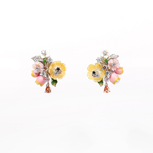Image 5 - Vanssey Fashion Jewelry Flower Bud Natural Mother of Pearl Enamel Cubic Zirconia Stud Earrings Accessories for Women 2018 New