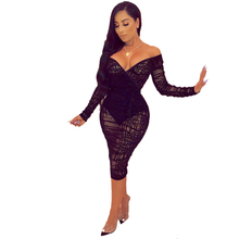 Plus Size 4XL Ruffle See Through Lace Bodycon Dress Summer Women Sexy V Neck Off Shoulder Long Sleeve Night Club Party vestidos