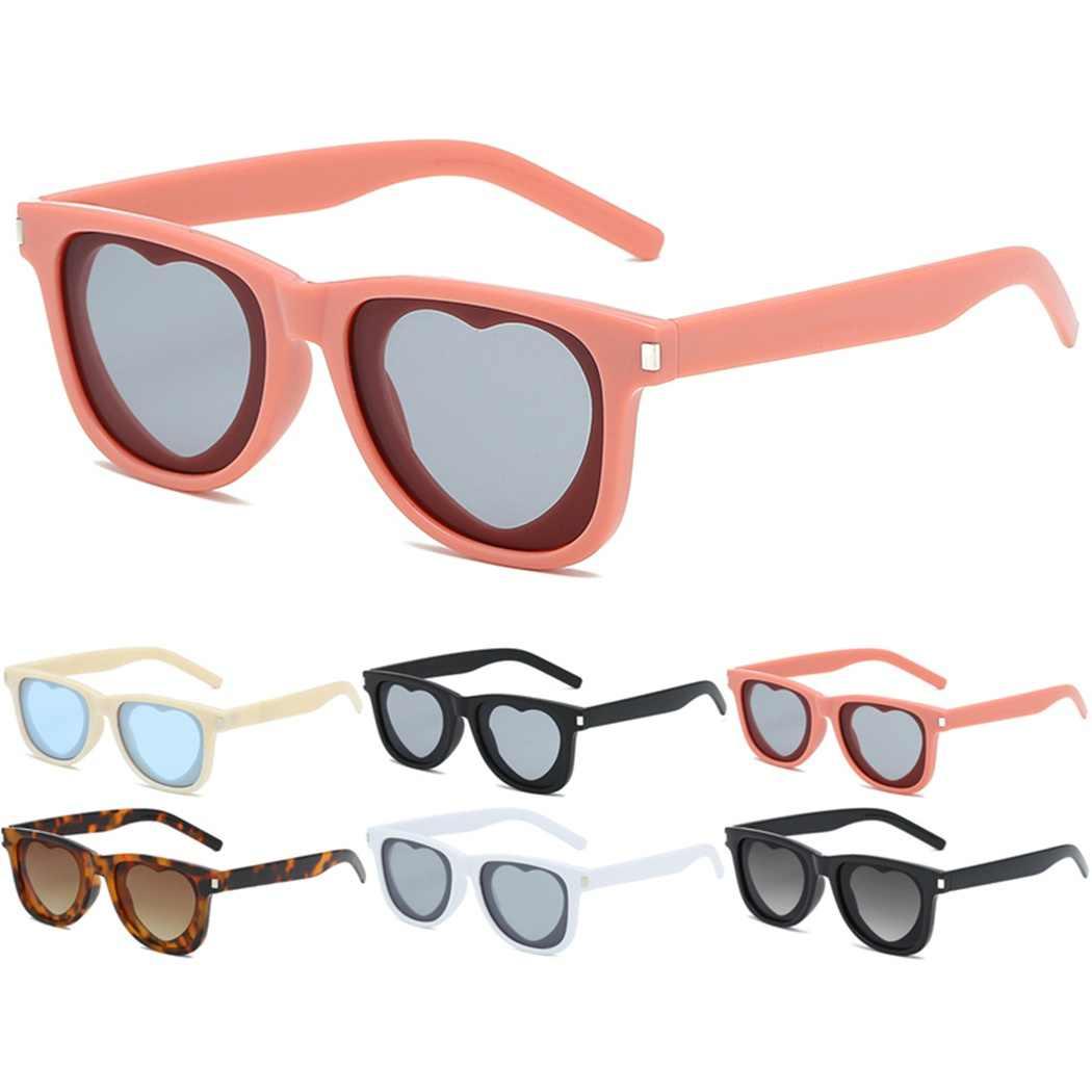 88771da81d8ea 2019 New Fashion Popular Heart Sharp Sunglasses Women Metal Hinge Cat Eye UV400  Sunglass Glitter Pink