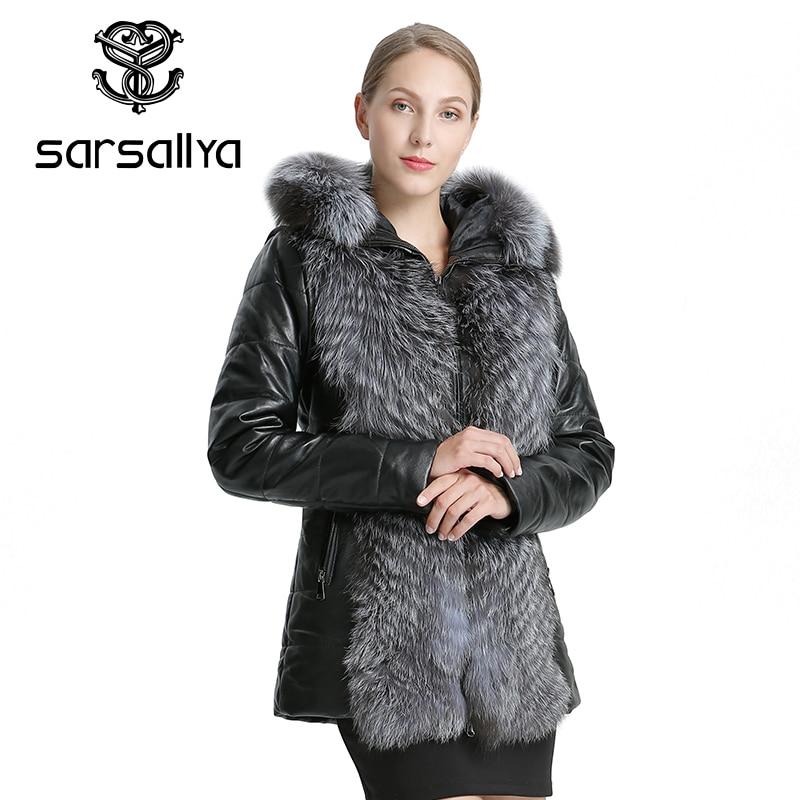 SARSALLYA 女性レザージャケットコート冬暖かいオーバーコート自然キツネの毛皮のコート着脱式ジャケットリアルファー女性のカジュアルな女性の C  グループ上の レディース衣服 からの 本物の毛皮 の中 2