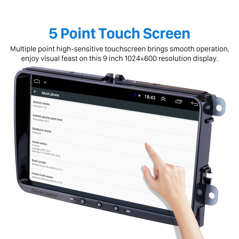 Lecteur multimédia de voiture Seicane Android 8.1 pour VW/Volkswagen/Golf/Polo/Tiguan/Passat/b7/b6/SEAT/leon/Skoda/Octavia 9 2DIN GPS - 3