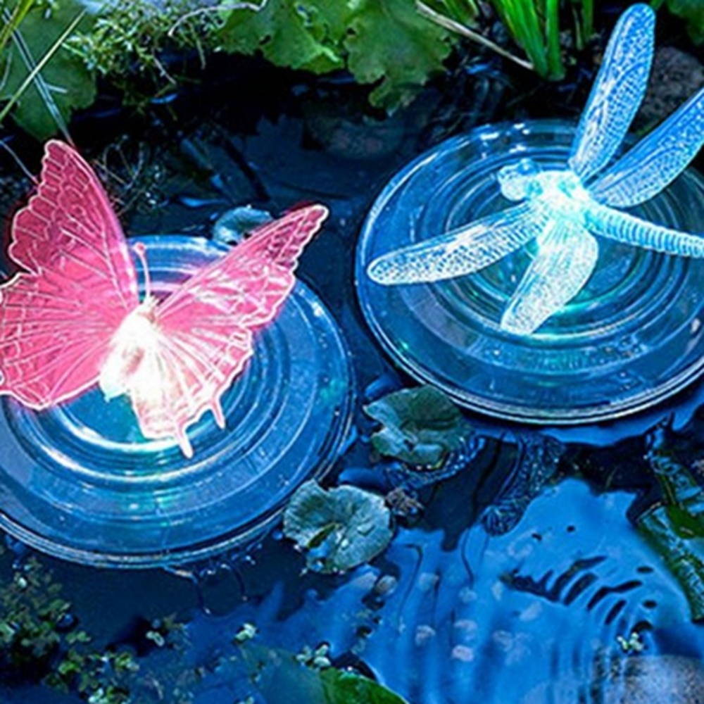 LED Solar Light RGB Color Change Light Butterfly / Dragonfly Shape Outdoor Garden Swimming Fountain Pool Water Decoration Light