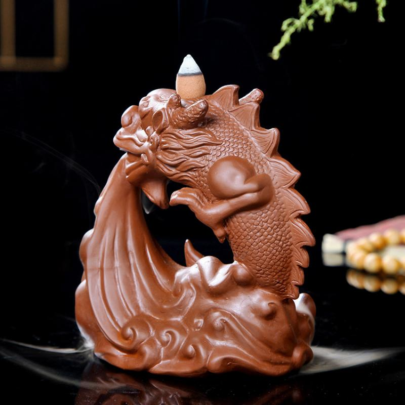 Ceramic Dragon Incense Burner Smoke Waterfall Backflow Incense Censer Mountain River Handicraft Incense Holder Dragon Encensoir in Incense Incense Burners from Home Garden