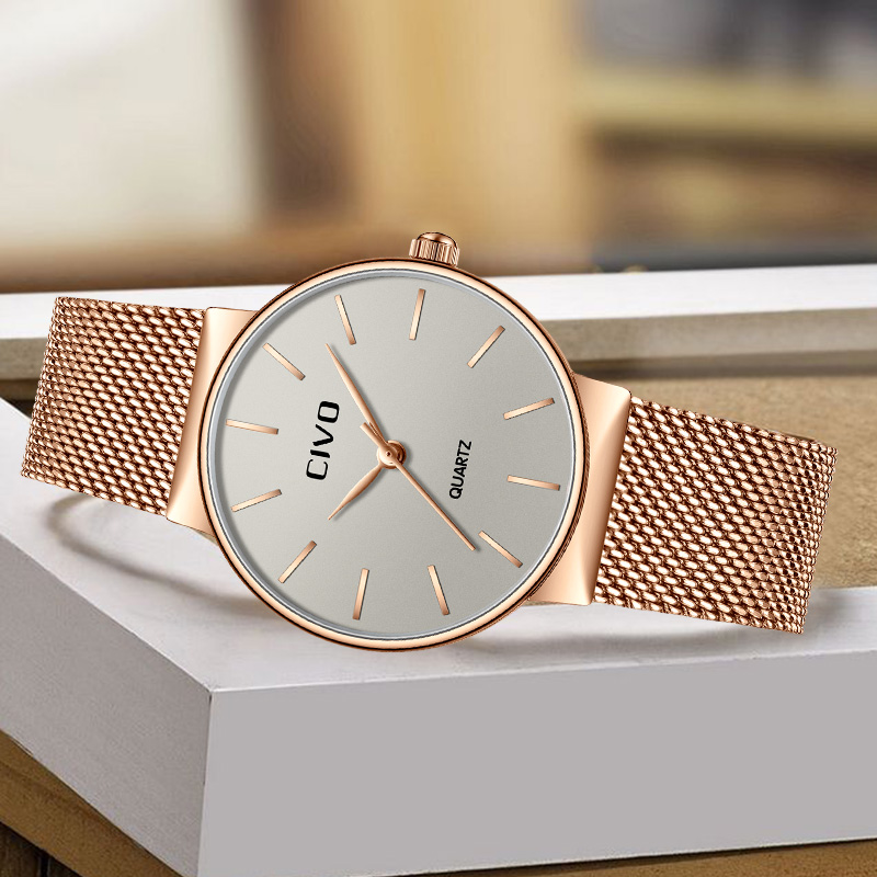 CIVO Neue Mode Top Marke Luxus Damen Wasserdicht Mesh-Armband Quarz Uhren Armbanduhren Uhr Bayanlar Izle Reloj De Dama