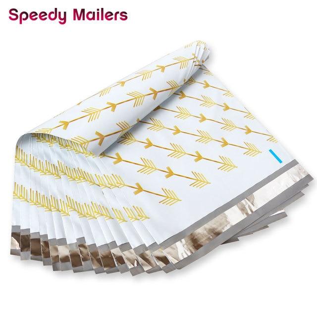 Speedy Mailers bolsas de plástico para sobres, autosellantes, con patrón de flechas doradas, 10x13 pulgadas, 26x33cm, 100 Uds.