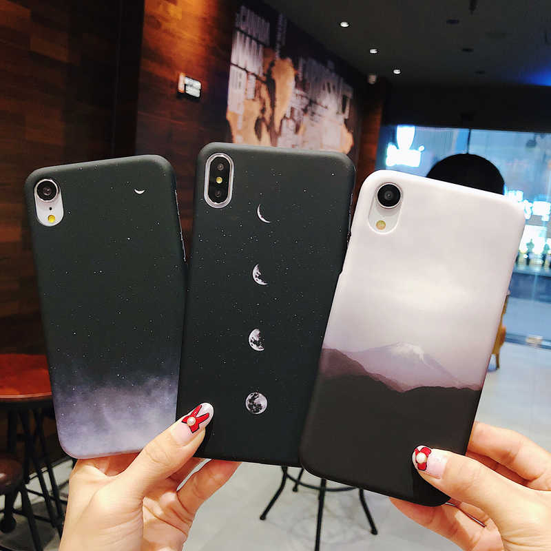 finest selection e6645 25d5d Moskado Starry Sky Phone Case For iphone XS XR X XS Max 8 7 6 6s Plus Space  Moons Mount Case For iphone 7 Plus Matte Hard Cover