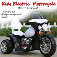 Child Motorbike Toy New American Plug Style Kids Electric Motorcycle 3 Anti Slip Wheels for Harley Style 1 6 Years Black & White