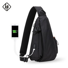 Hk Multifunction Fashion Crossbody Bags Men USB Charging Chest Pack Short Trip Messengers Bag Water Repellent Shoulder Bags(China)