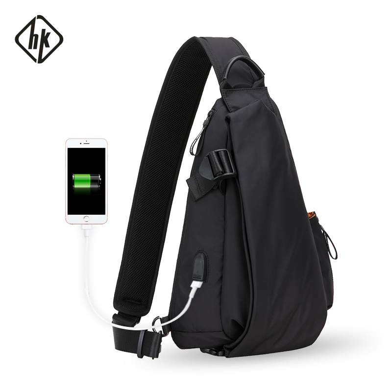 Hk wielofunkcyjny mody Crossbody torby mężczyzna USB do ładowania w klatce piersiowej krótka podróż posłańcy torba wodoodporne torby na ramię w Torby z długim paskiem od Bagaże i torby na  Grupa 1