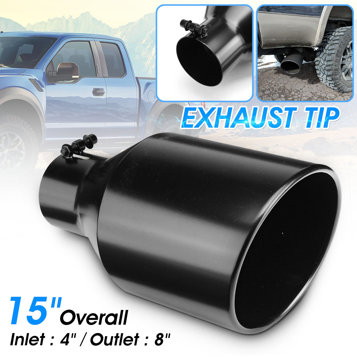 "Car Truck Bolt On  Diesel Exhaust Tip Tail Pipe 4/"" Inlet 8/"" Outlet 15/"" Long US"