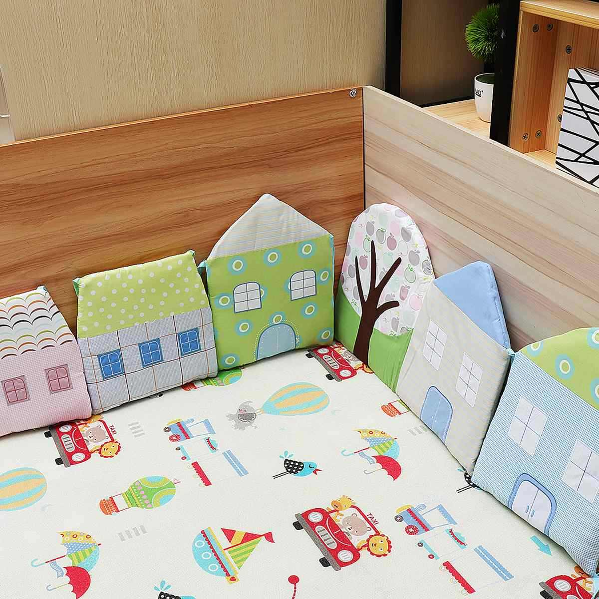 6 pcs תינוק כותנה כרית פגושים Made טופס כריות לעריסה הגנת מיטת תינוק מצעים כהה כוכבים יילוד תינוק מיטה מצעים