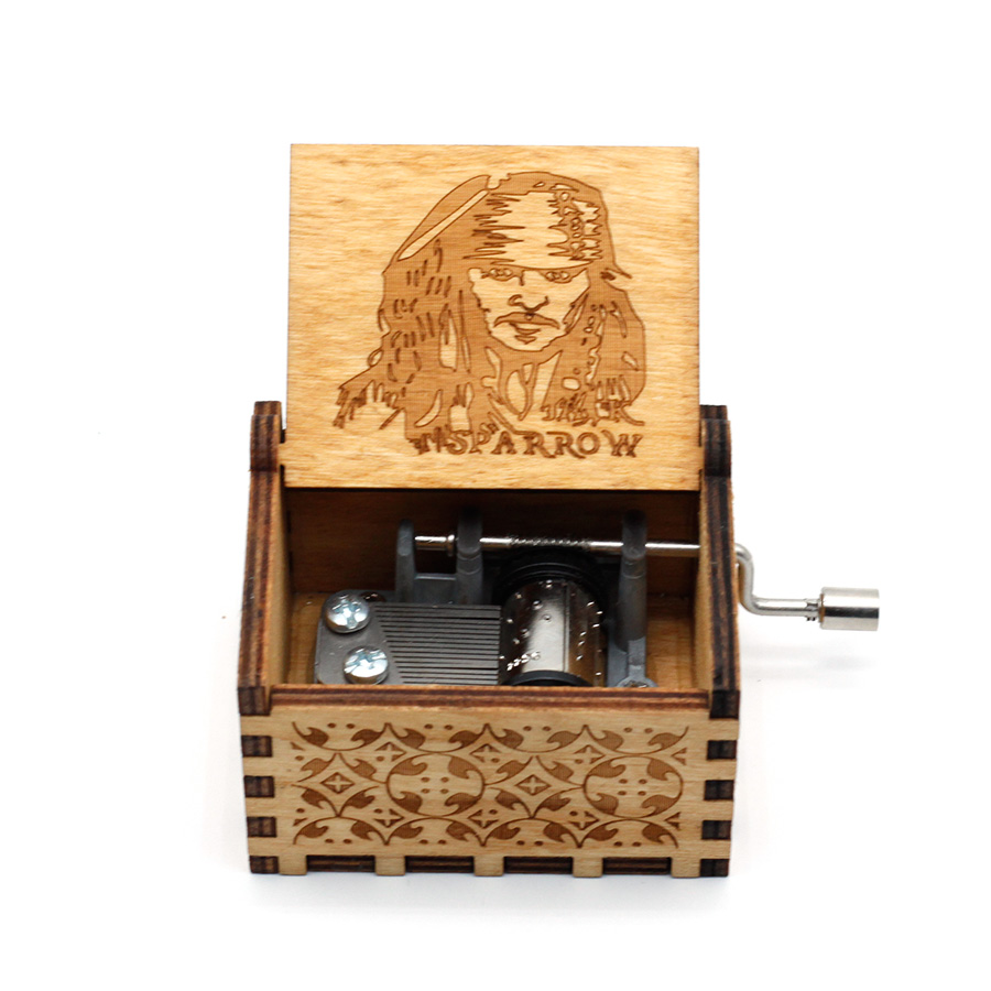 Anonymity  wooden Hand-Crafted Jack Sparrow from Pirates of the Caribbean plays melody Davy Jones Music Box 1