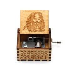 Anonimato de madeira mão-crafted jack sparrow de piratas do caribe toca melody davy jones caixa de música