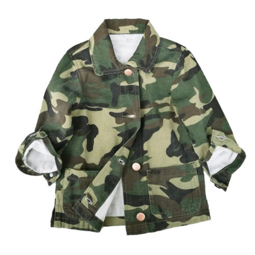 Outerwear & Coats Brilliant 2018 Fashion Toddler Kids Girls Button Baisc Jacket Coat Camouflage Lovely Luster