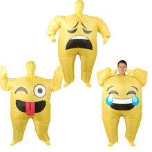 Inflatable Face Emoji Costume for Adult Cosplay Clothing Funny Smile Cry Face Full Body Purim Carnival Halloween Party Costumes