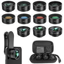 Phone Camera Lens,11 In 1 Cell Lens Kit For Iphone And Android, Wide Angle Lens+Fisheye Lens+Macro Lens+Zoom Telephoto L
