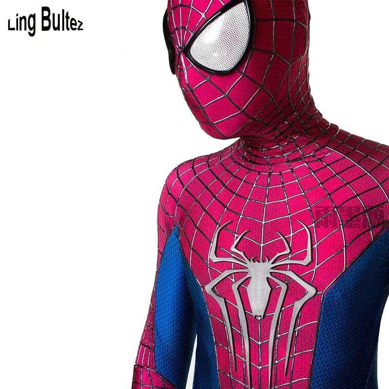 Ling Bultez High Quality Blue Red Patchwork 3D CobWebs Spiderman Costume With Relief Spider Waist Zipper Amazing Spiderman Suit