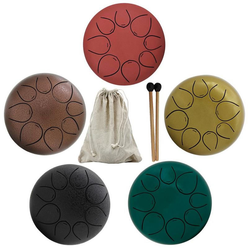 5 Inch Steel Tongue Drum Tune Handpan Hand Tank Drum with Drumsticks Carrying Bag Percussion Instruments