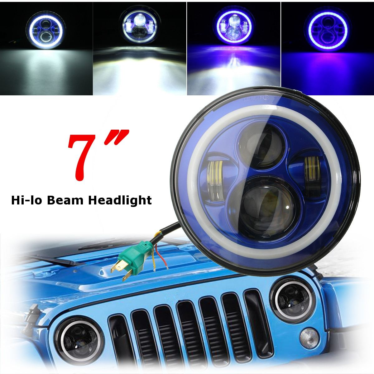 Enthusiastic 7inch 6000k Led Hi-lo Beam Headlight Halo Angle Eyes White Blue Turn Light For Jeep/wrangler Strengthening Waist And Sinews Car Lights