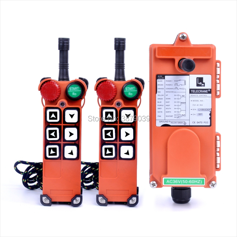 TELECRANE F21-E1 (2 Transmitters+1 Receiver) Industrial Wireless Radio 6 Buttons Remote Controller for Hoist Crane f21 e1b include 2 transmitters 1 receiver 6 buttons 1 speed hoist crane remote control wireless radio uting remote controller