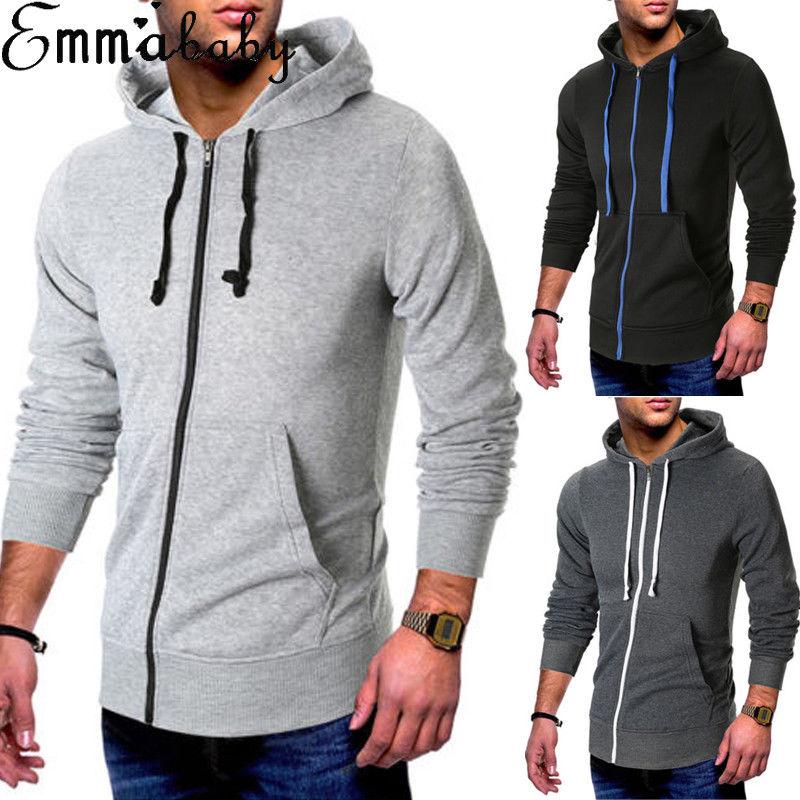 New Plain Mens American Fleece Zip Up Hoody Jacket Sweatshirt Hooded Zipper Top
