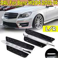 R/L Front Bumper Grill Molding LED Fog Light Daytime Running Light Fog Lamp For Mercedes For Benz W204 C Class 2012 14 DRL Only