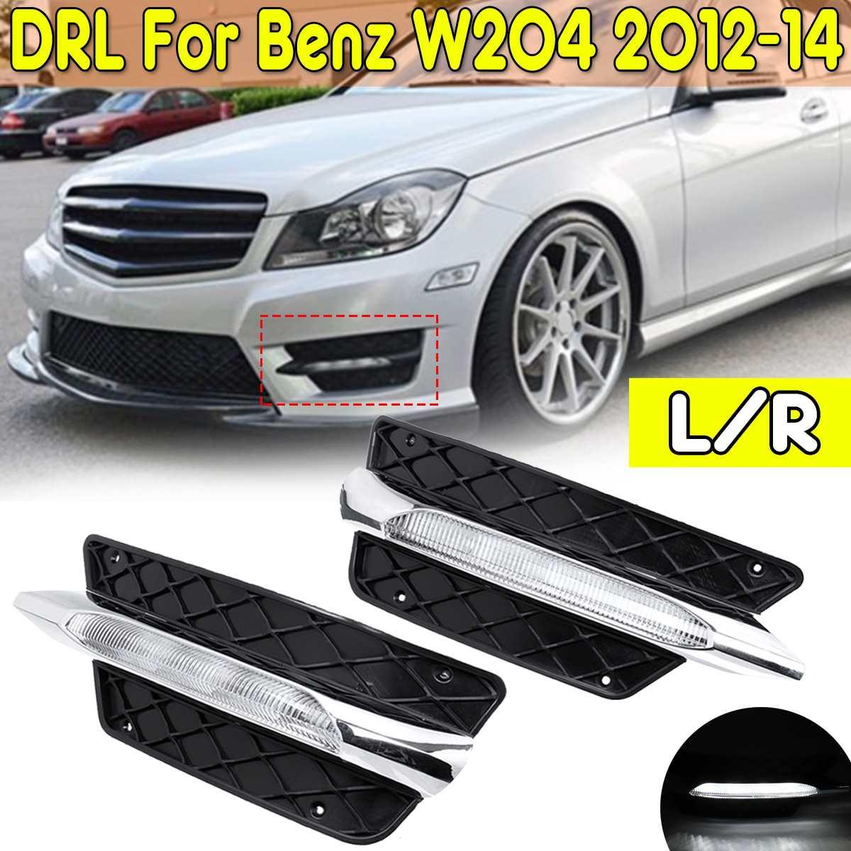 R/L Front Bumper Grill Molding LED Fog Light Daytime Running Light Fog Lamp For Mercedes For Benz W204 C Class 2012 14 DRL Only