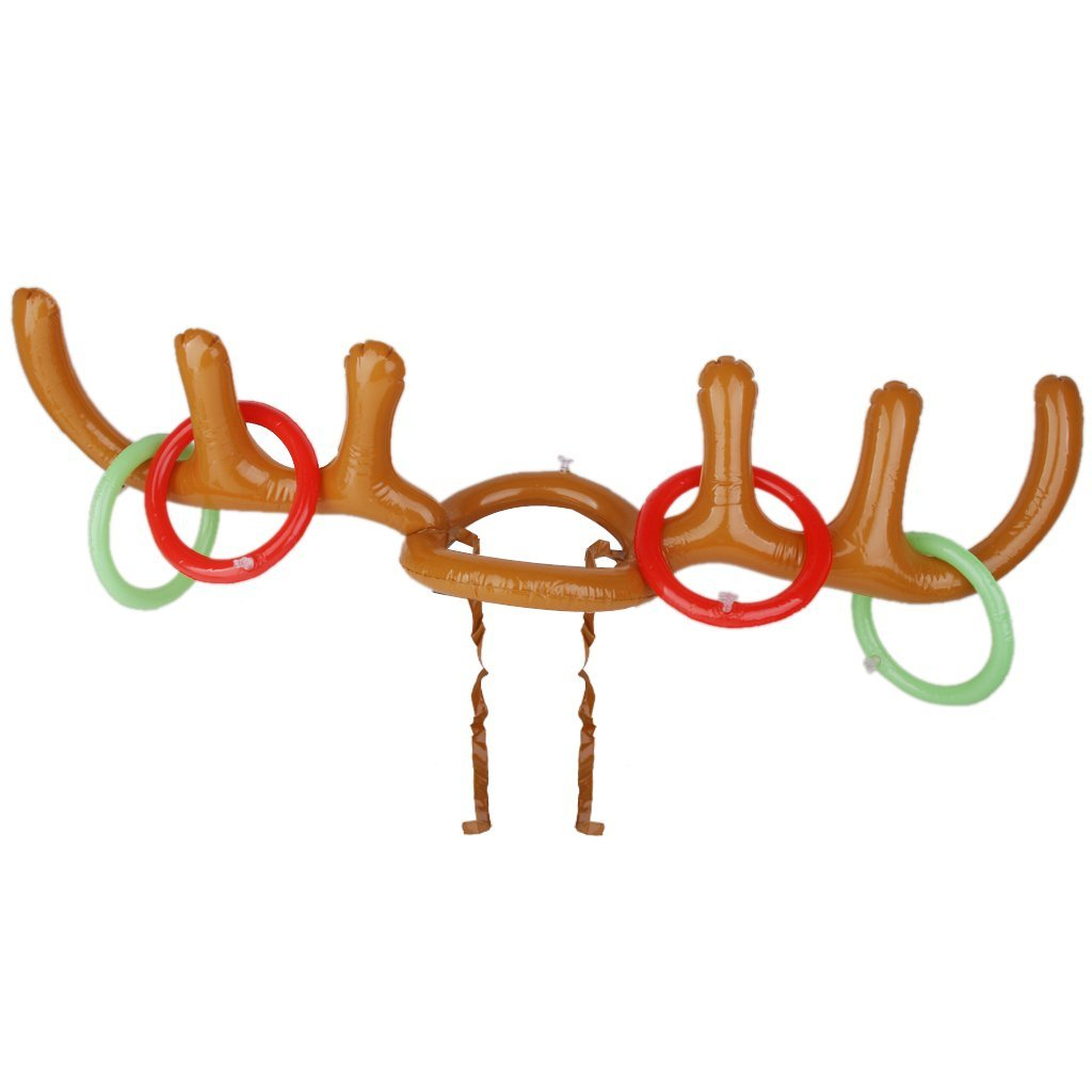 Christams Holiday Party Game Inflatable Reindeer Antler Hat Rings Toss Toy Game Party Toys Brown Color