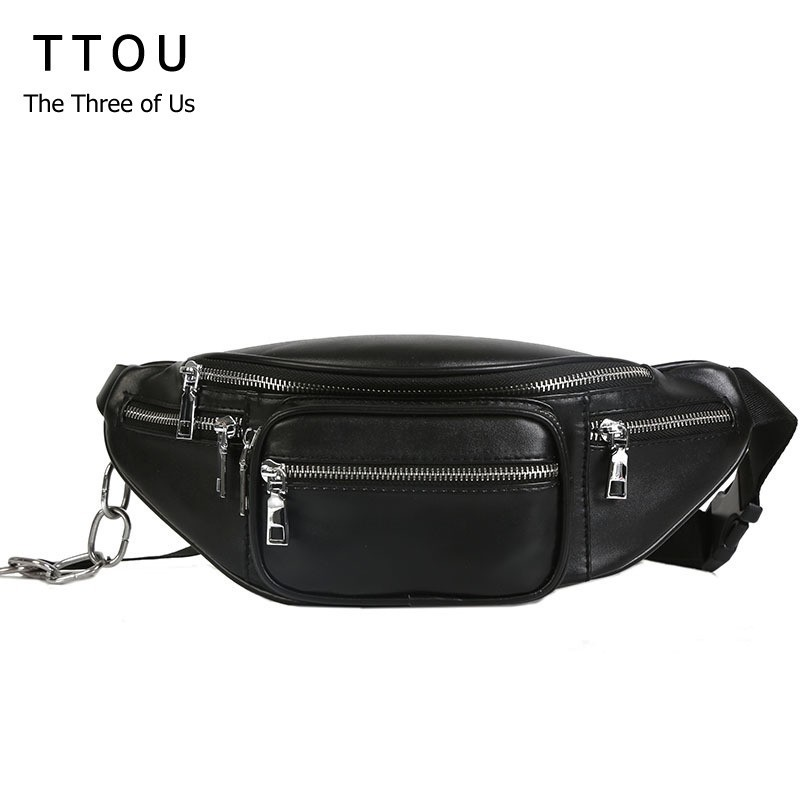 TTOU Fashion Women Waist Bag Casual Pu Leather Chain Bananka Bags Zipper Chest Waist Bags Travel Chest Bag Fanny Waist Pack цена