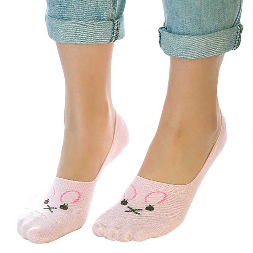 1 Pairs جورب النعال عدم الانزلاق قارب متعطل القطن النساء غير مرئية منخفضة قطع لا تظهر قصيرة الجوارب مضحك القطط الفتيات الوردي الكرتون جورب