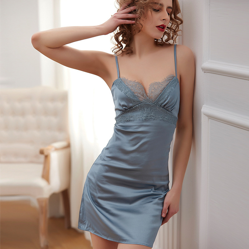Lisacmvpnel Sexy Ice Silk Women Nightdress Lace  Hollow Out Spaghetti Strap Sleepwear
