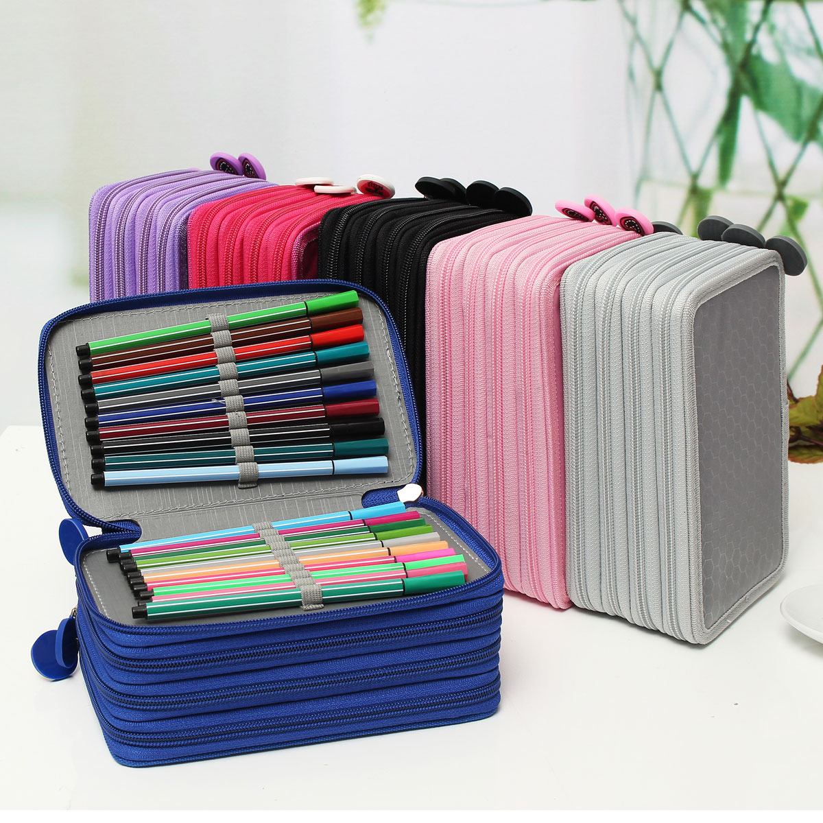 72 Holders 4 Layer Portable Oxford Canvas Bag School Pencils Case Pouch Brush Pockets Bag Pencil Holder Case School Supplies