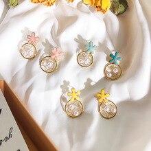 Korea Daisy Flower Earrings Irregular Big Hollow Round Stud for Women