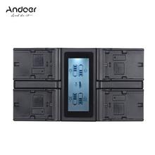 Andoer كاميرا رقمية شاحن بطارية 4 قنوات لكانون EOS 5DII 5DS 6D 7DII 80D مع DC شاحن سيارة شاشة الكريستال السائل الاتحاد الأوروبي الولايات المتحدة المكونات