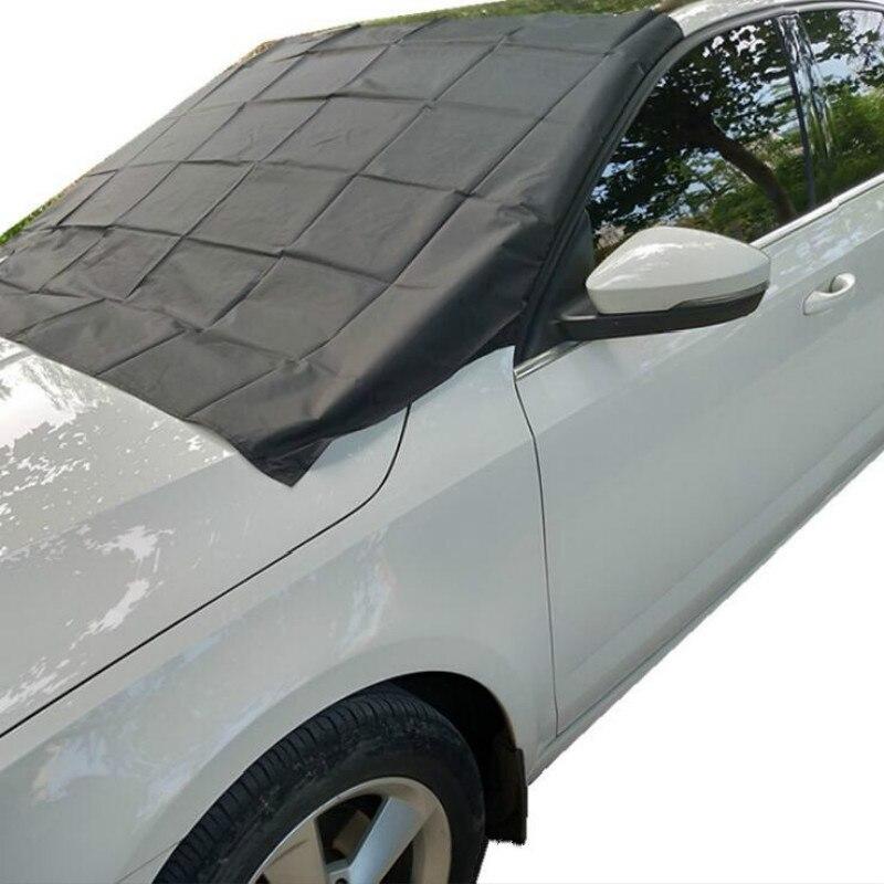 215x125 cm Exterior del coche imán parabrisas cubierta de nieve cubre sombrilla de hielo de nieve helada Protector parabrisas plata negro cubre