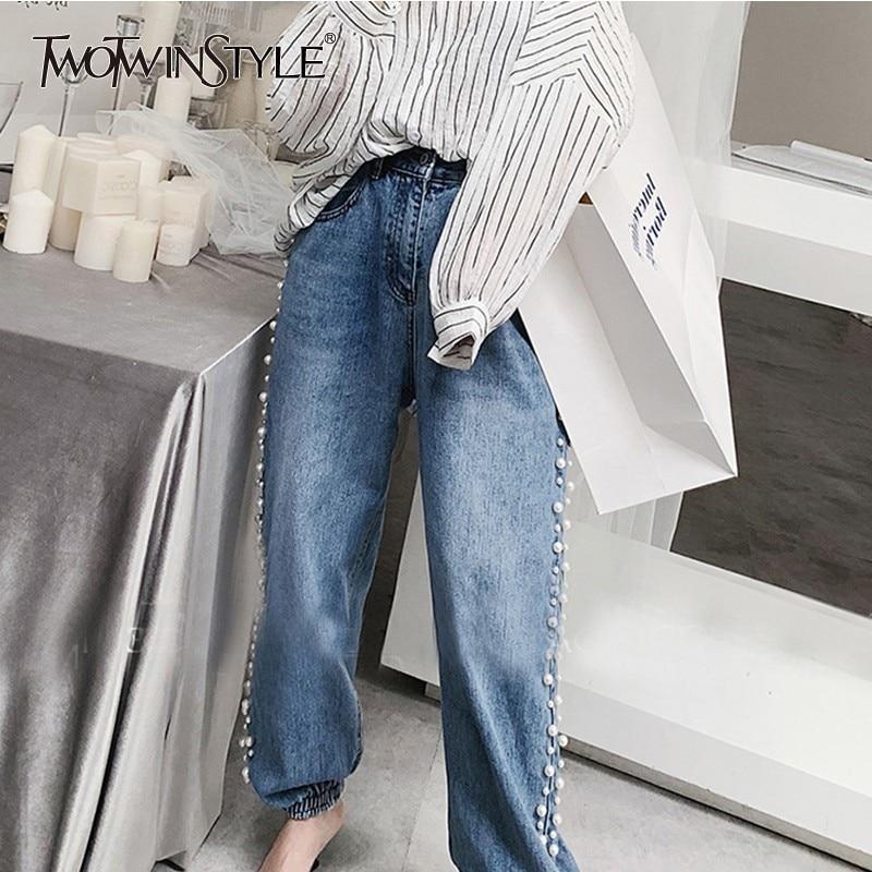 TWOTWINSTYLE Coreano Perle Patchwork Dei Jeans Delle Donne A Vita Alta A Vita Alta Più Il Formato Del Denim Dei Pantaloni Per Le Donne 2019 di Modo di Marea-in Jeans da Abbigliamento da donna su  Gruppo 1