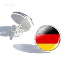Soccer Fans Earrings Football Girls Ear Nail Jewelry Spain German Netherlands Flag Glass Dome Stud Gifts