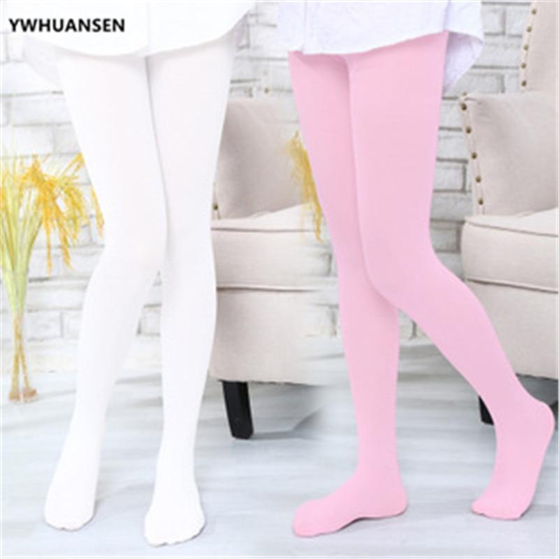 YWHUANSEN Summer Spring Candy Color Kids Pantyhose Ballet Dance Tights for Girls Stocking Children Velvet Solid White Pantyhose 4