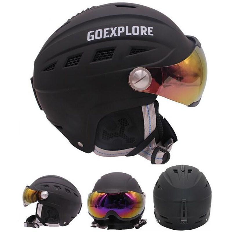 Mounchain スキーヘルメットとバイザーハーフ被覆屋外スポーツスノーボードスケートヘルメット S XL 48 62 センチメートル白、黒色  グループ上の スポーツ & エンターテイメント からの スキー ヘルメット の中 1