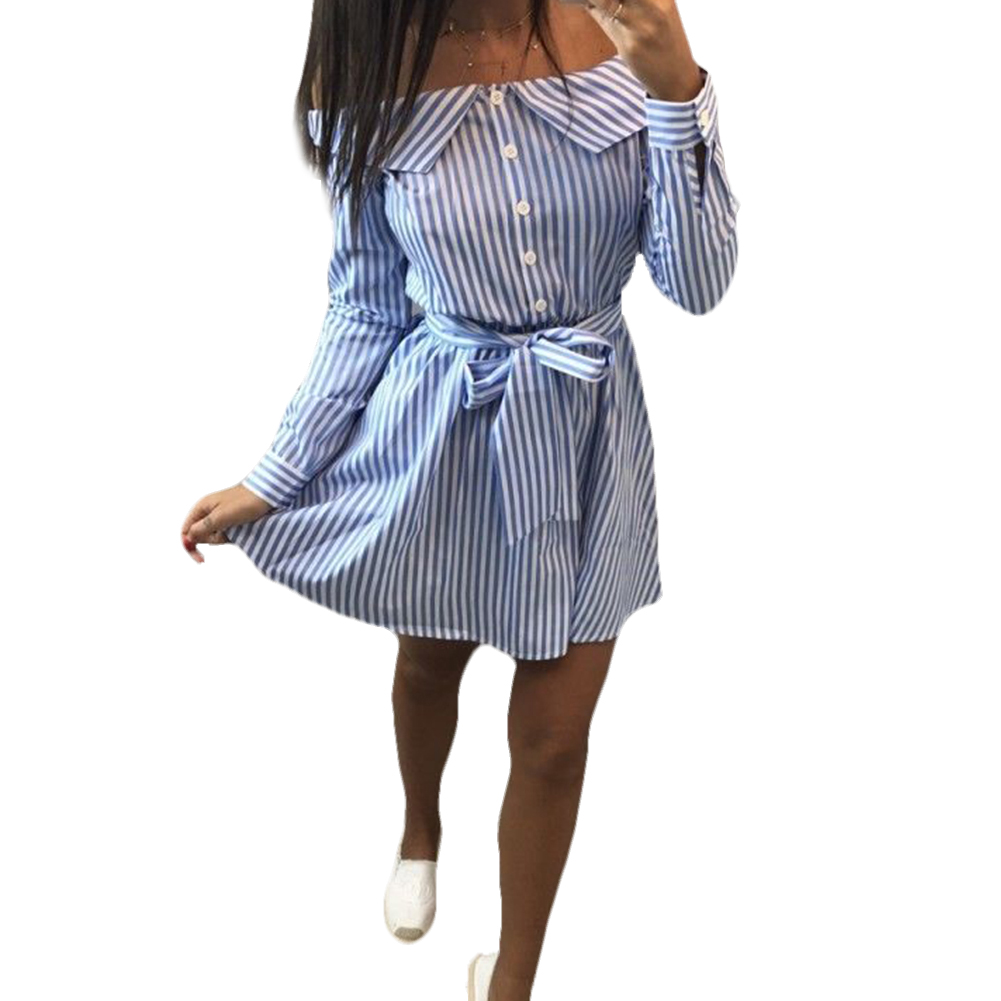 Mini With Belt Holiday Long Sleeve Striped Lace-up Off Collar Button-down