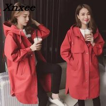 Women trench loose coat autumn winter outfit hooded casual long windbreaker trench coat female business outerwear plus size women trench loose coat autumn winter outfit hooded casual long windbreaker trench coat female business outerwear plus size
