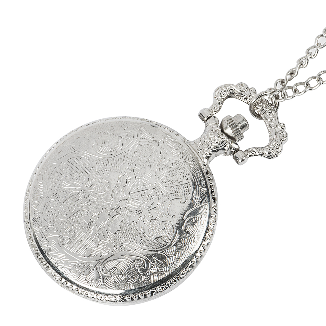 Fashion Vintage Pocket Watch Alloy Roman Number Dual Time Display Clock Necklace Chain Watches Birthday Gifts in Pocket Fob Watches from Watches