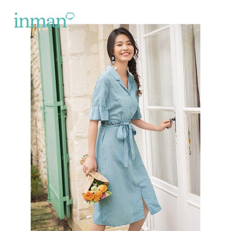 INMAN 2019 verano nueva llegada elegante cuello vuelto minimalismo rayado delgado con bordado cinturón manga campana vestido de mujer