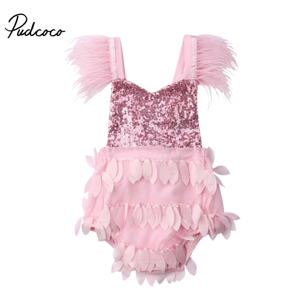 2019 Brand New Newborn Infant Kid Baby Girl Tassel Feather Sequined  Bodysuit Pink Jumpsuit Backless Sunsuit fa820f4703df