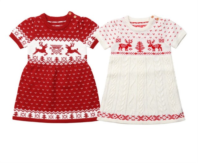 dd13cb6f4758e US $7.19  XMAS Deer Knitted Dress Autumn Spring Toddler Kid Baby Girls  Knitting Wool Sweater Crochet Dress Clothes-in Dresses from Mother & Kids  on ...