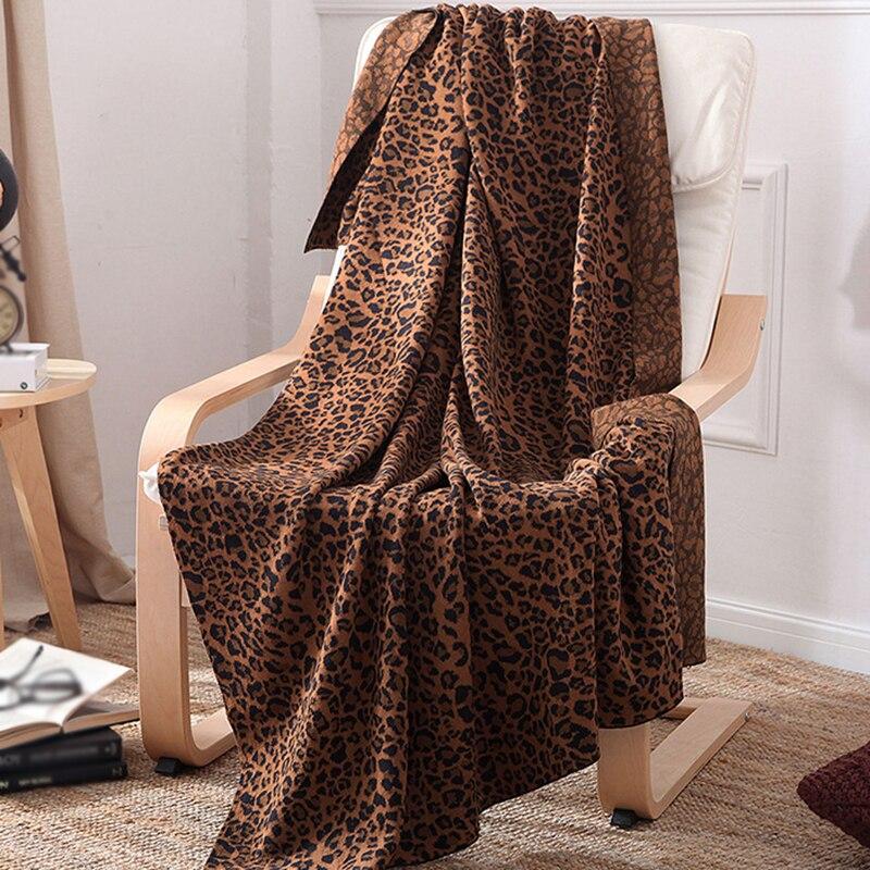 Haute qualité 120*180 cm léopard tricoté fil couverture pour lit coton canapé décoratif jeter couvertures couvre-lit anniversaire Gift27